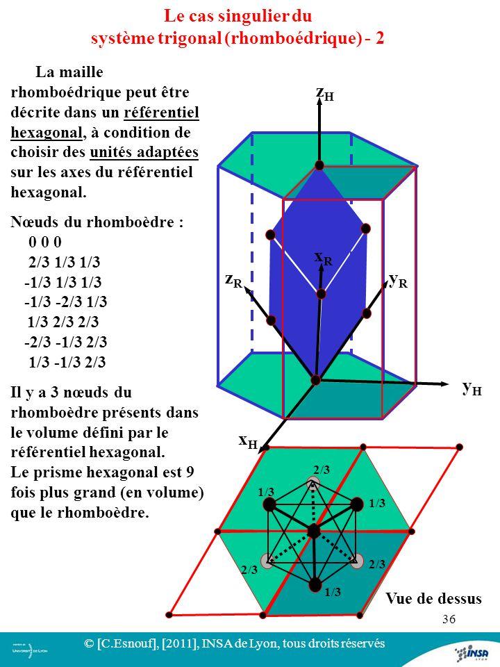 36 Le cas singulier du système trigonal (rhomboédrique) - 2 Vue de dessus 1/3 2/3 xRxR yRyR zRzR zHzH yHyH xHxH La maille rhomboédrique peut être décr