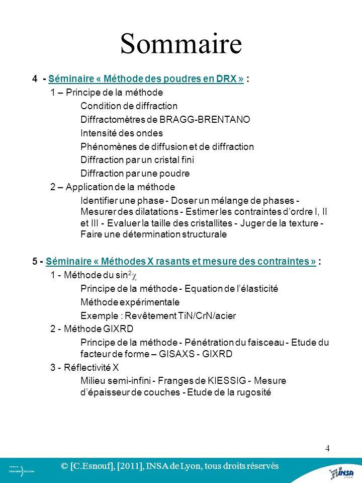 4 - Séminaire « Méthode des poudres en DRX » :Séminaire « Méthode des poudres en DRX » 1 – Principe de la méthode Condition de diffraction Diffractomè