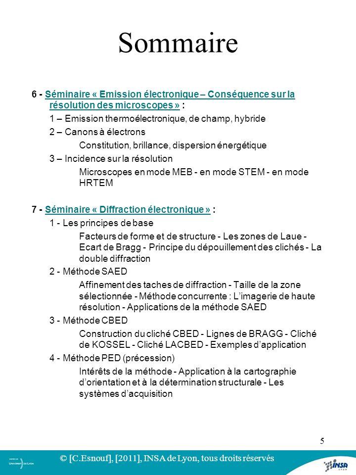 6 - Séminaire « Emission électronique – Conséquence sur la résolution des microscopes » :Séminaire « Emission électronique – Conséquence sur la résolu