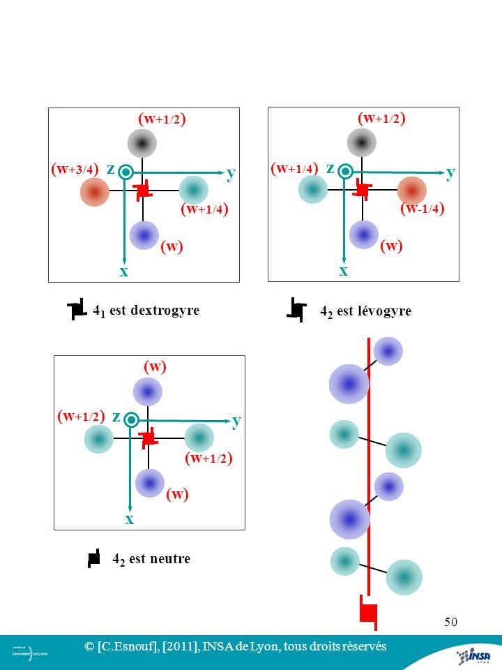 50 y x z (w) (w +1/2 ) (w +3/4 ) (w +1/4 ) 4 1 est dextrogyre y x z (w) (w +1/2 ) (w +1/4 ) (w -1/4 ) 4 2 est lévogyre y x z (w) (w +1/2 ) 4 2 est neu