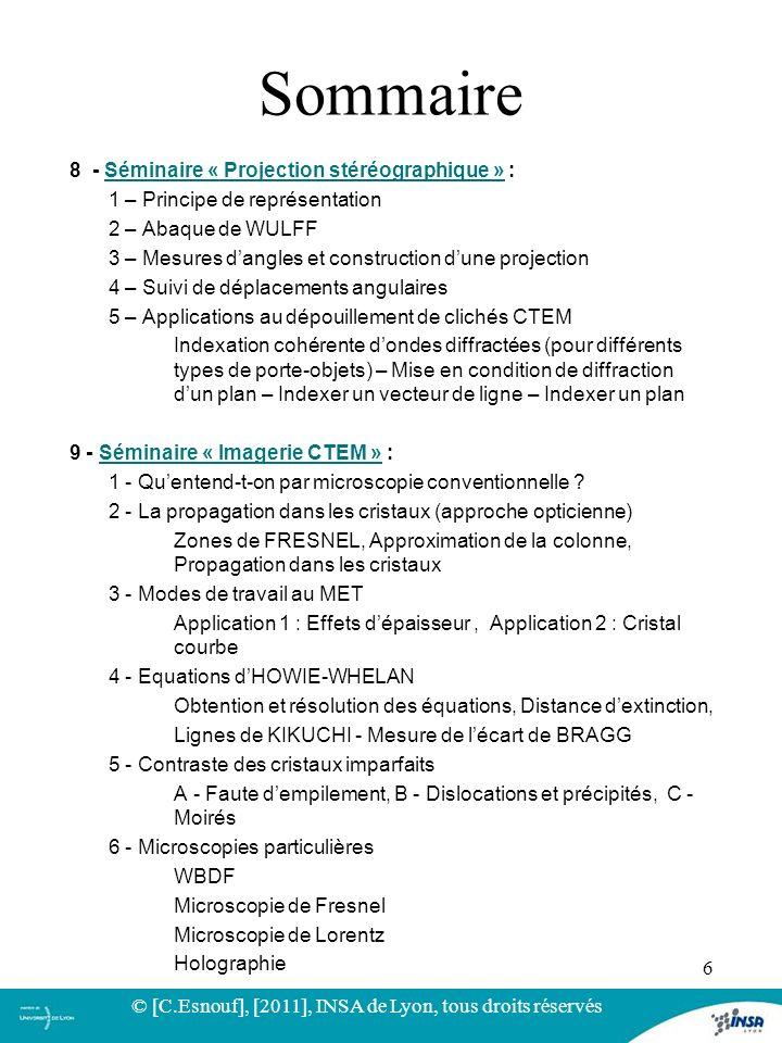 8 - Séminaire « Projection stéréographique » :Séminaire « Projection stéréographique » 1 – Principe de représentation 2 – Abaque de WULFF 3 – Mesures