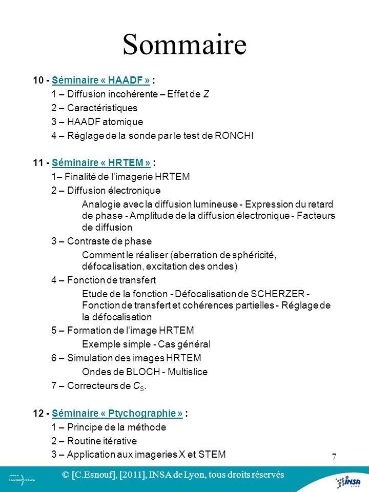 10 - Séminaire « HAADF » :Séminaire « HAADF » 1 – Diffusion incohérente – Effet de Z 2 – Caractéristiques 3 – HAADF atomique 4 – Réglage de la sonde p
