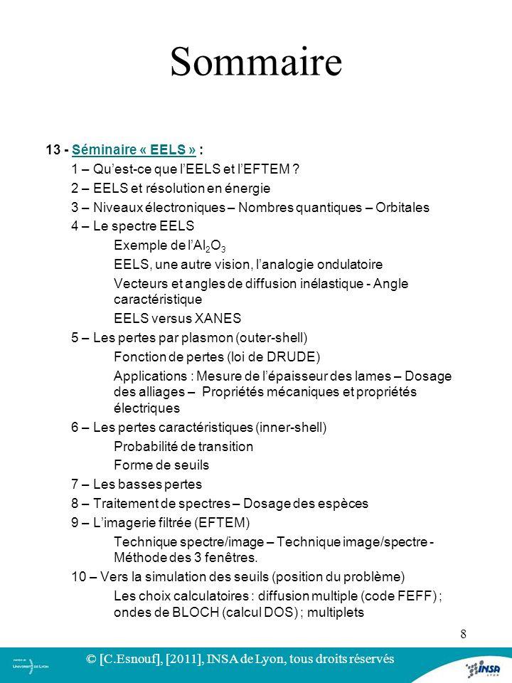 13 - Séminaire « EELS » :Séminaire « EELS » 1 – Quest-ce que lEELS et lEFTEM ? 2 – EELS et résolution en énergie 3 – Niveaux électroniques – Nombres q