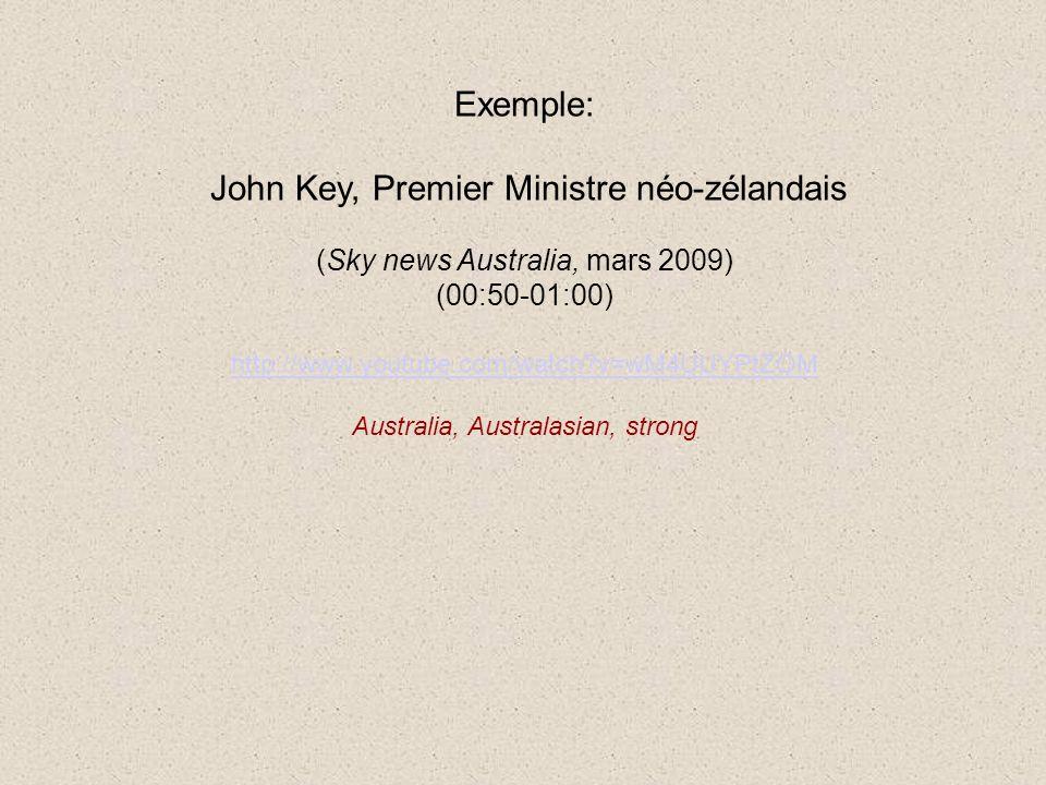 Exemple: John Key, Premier Ministre néo-zélandais (Sky news Australia, mars 2009) (00:50-01:00) http://www.youtube.com/watch v=wM4UUYPtZOM Australia, Australasian, strong
