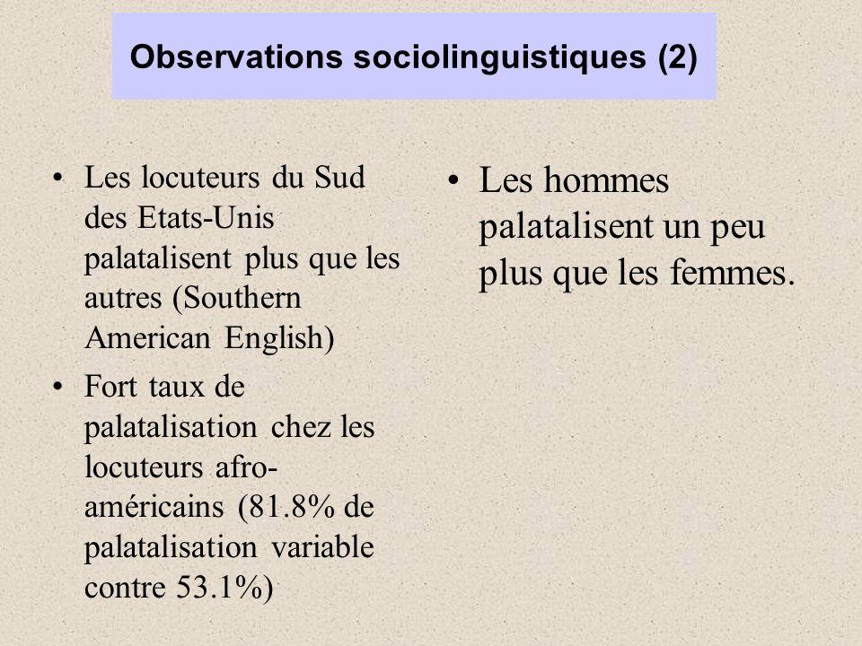 Observations sociolinguistiques (2) Les locuteurs du Sud des Etats-Unis palatalisent plus que les autres (Southern American English) Fort taux de palatalisation chez les locuteurs afro- américains (81.8% de palatalisation variable contre 53.1%) Les hommes palatalisent un peu plus que les femmes.