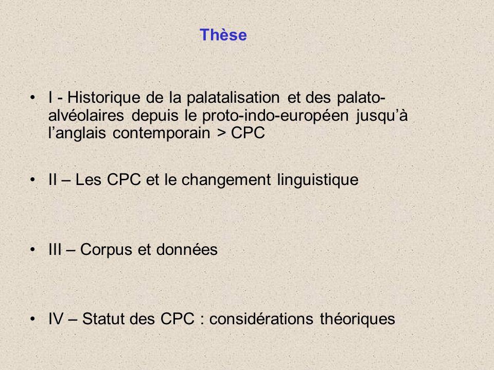 I - Historique de la palatalisation et des palato- alvéolaires depuis le proto-indo-européen jusquà langlais contemporain > CPC II – Les CPC et le cha