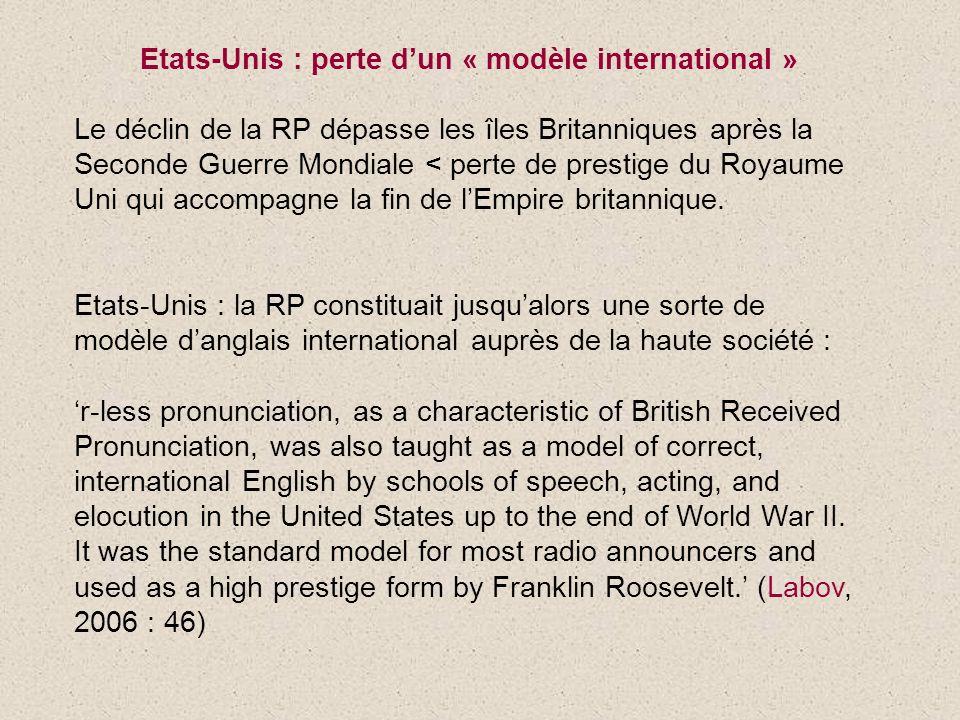 Etats-Unis : perte dun « modèle international » Le déclin de la RP dépasse les îles Britanniques après la Seconde Guerre Mondiale < perte de prestige du Royaume Uni qui accompagne la fin de lEmpire britannique.
