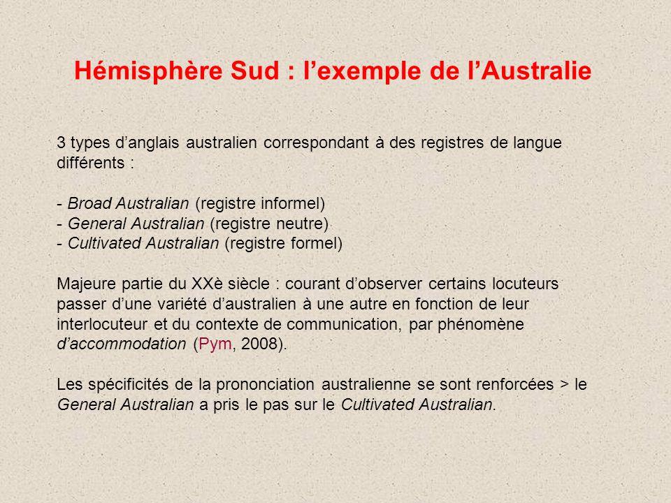 Hémisphère Sud : lexemple de lAustralie 3 types danglais australien correspondant à des registres de langue différents : - Broad Australian (registre