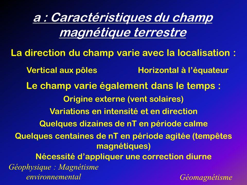 Géophysique : Magnétisme environnemental Géomagnétisme a : Caractéristiques du champ magnétique terrestre La direction du champ varie avec la localisa