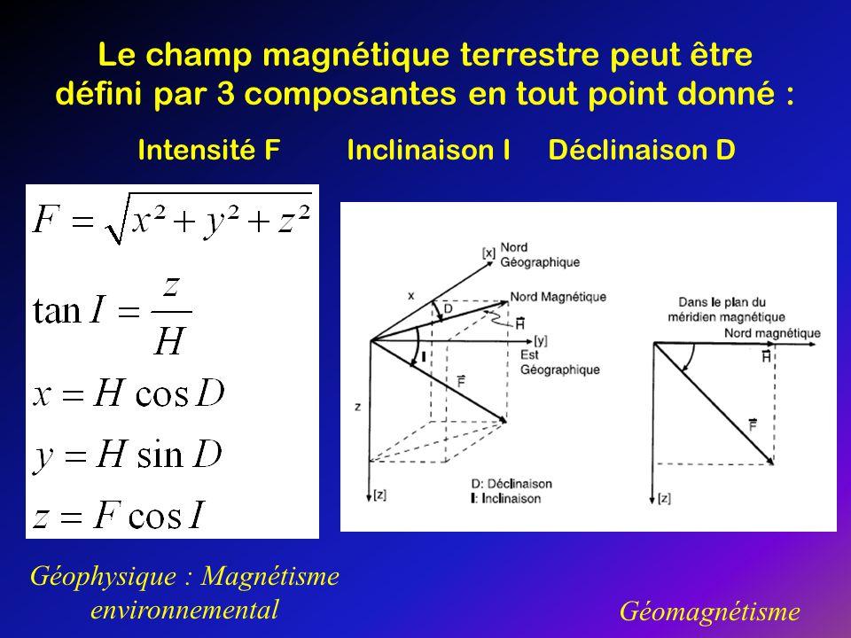 Géophysique : Magnétisme environnemental Géomagnétisme Le champ magnétique terrestre peut être défini par 3 composantes en tout point donné : Intensit