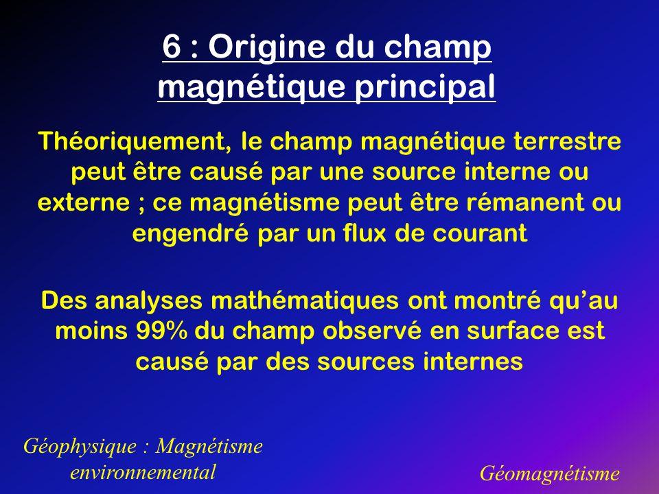 6 : Origine du champ magnétique principal Géophysique : Magnétisme environnemental Géomagnétisme Théoriquement, le champ magnétique terrestre peut êtr