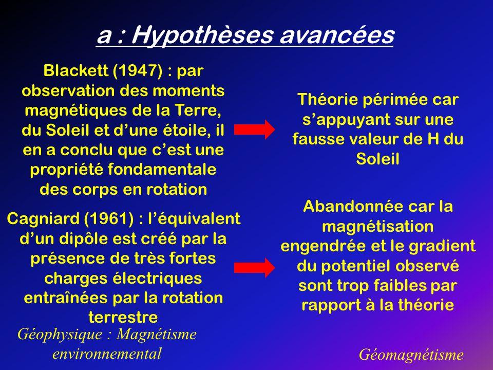 a : Hypothèses avancées Géophysique : Magnétisme environnemental Géomagnétisme Blackett (1947) : par observation des moments magnétiques de la Terre,