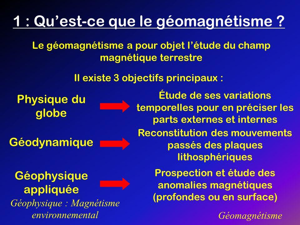1 : Quest-ce que le géomagnétisme ? Géophysique : Magnétisme environnemental Géomagnétisme Le géomagnétisme a pour objet létude du champ magnétique te