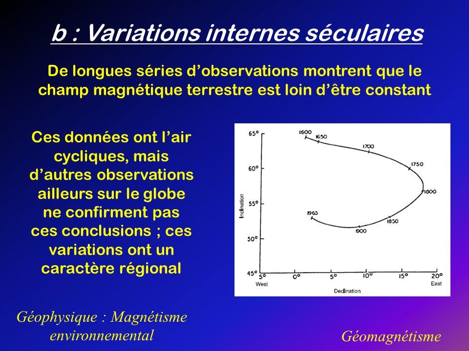 b : Variations internes séculaires Géophysique : Magnétisme environnemental Géomagnétisme De longues séries dobservations montrent que le champ magnét