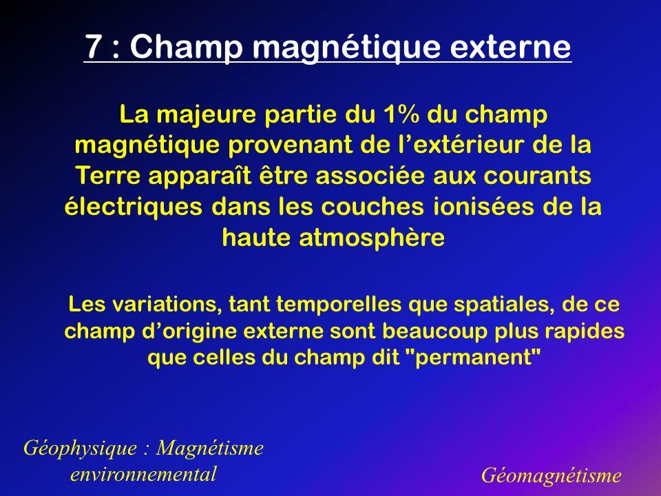7 : Champ magnétique externe Géophysique : Magnétisme environnemental Géomagnétisme La majeure partie du 1% du champ magnétique provenant de lextérieu