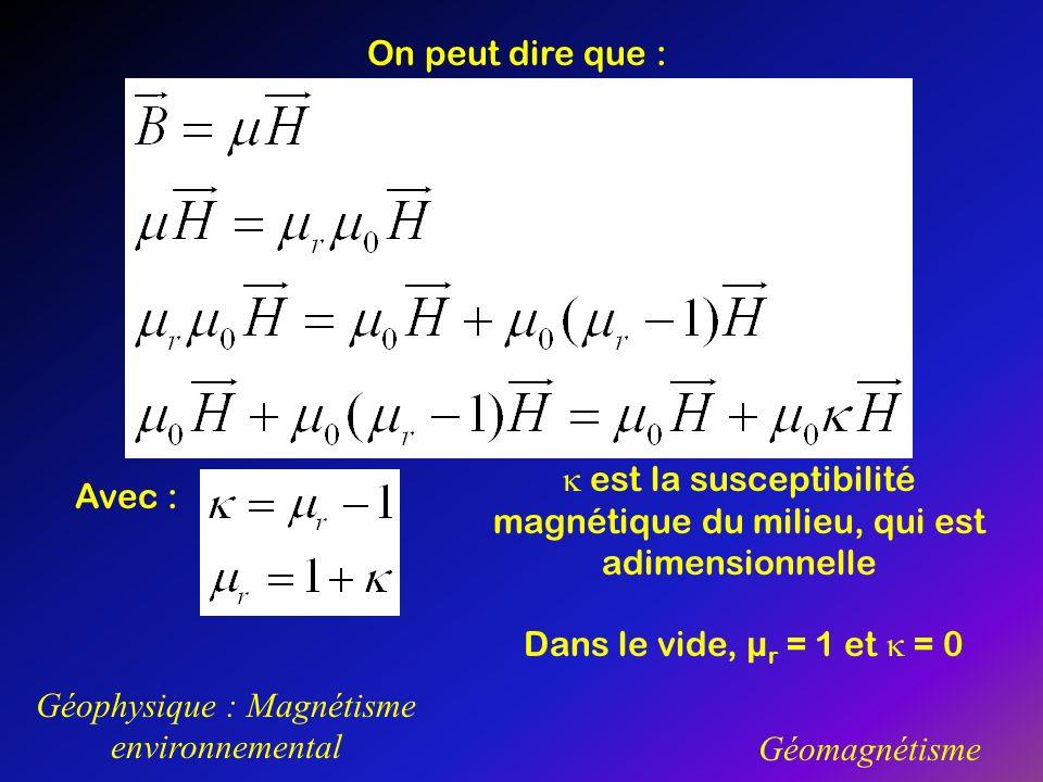 Géophysique : Magnétisme environnemental Géomagnétisme On peut dire que : Avec : est la susceptibilité magnétique du milieu, qui est adimensionnelle D