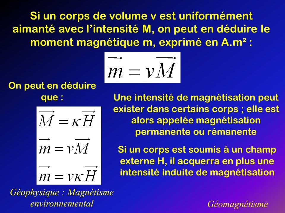 Géophysique : Magnétisme environnemental Géomagnétisme Si un corps de volume v est uniformément aimanté avec lintensité M, on peut en déduire le momen