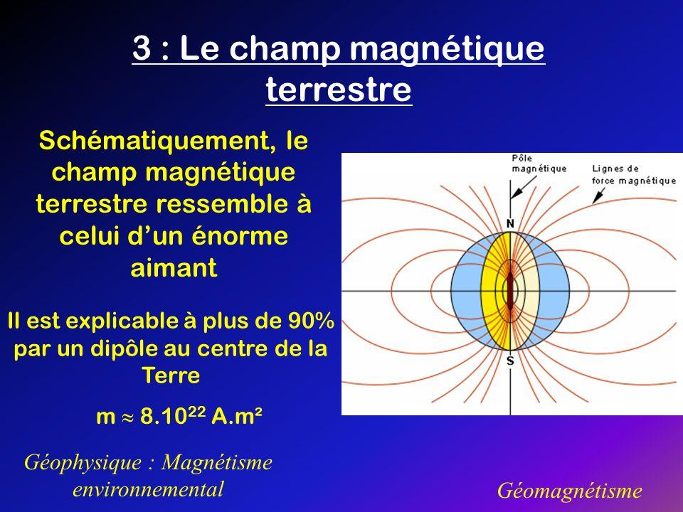 3 : Le champ magnétique terrestre Géophysique : Magnétisme environnemental Géomagnétisme Schématiquement, le champ magnétique terrestre ressemble à ce