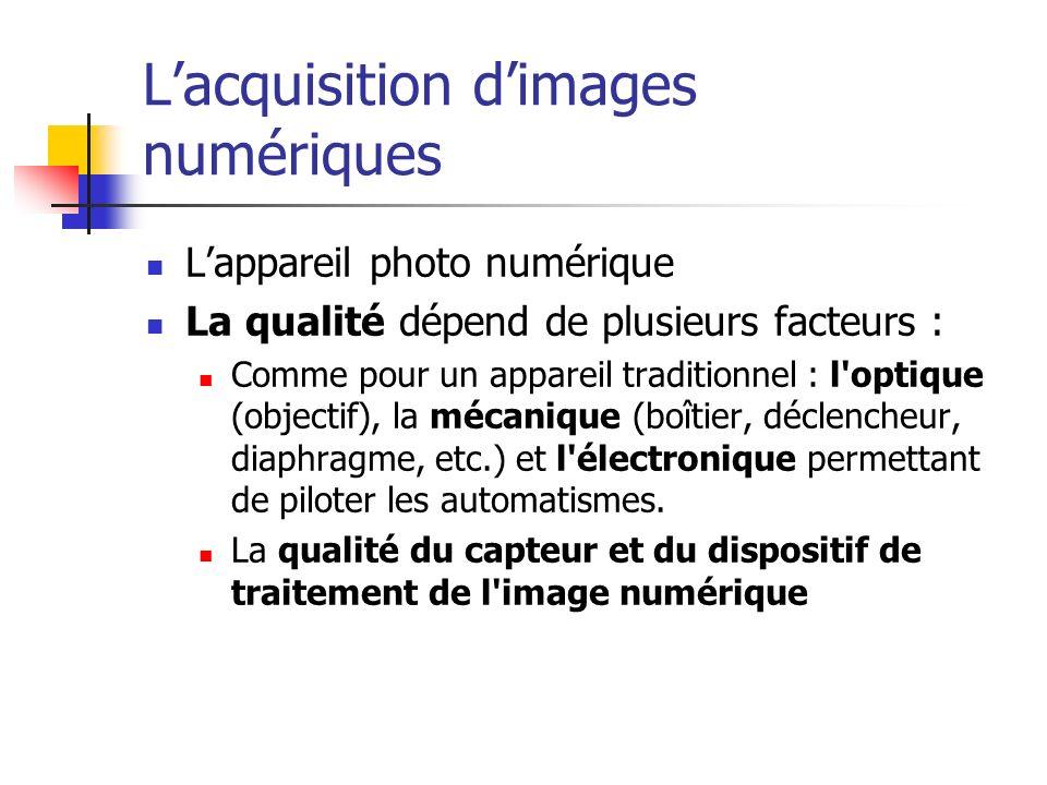 Lacquisition dimages numériques Lappareil photo numérique La qualité dépend de plusieurs facteurs : Comme pour un appareil traditionnel : l'optique (o