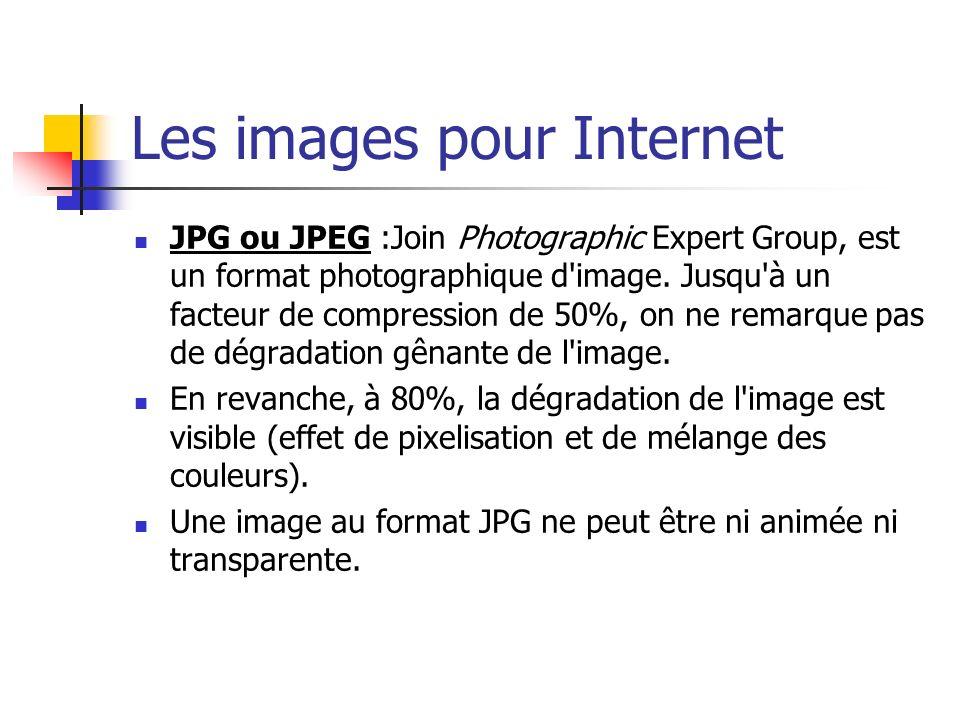 Les images pour Internet JPG ou JPEG :Join Photographic Expert Group, est un format photographique d'image. Jusqu'à un facteur de compression de 50%,
