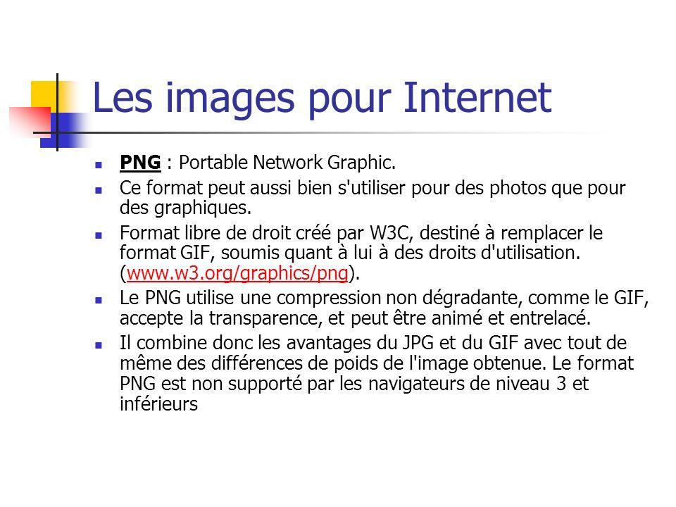 Les images pour Internet PNG : Portable Network Graphic. Ce format peut aussi bien s'utiliser pour des photos que pour des graphiques. Format libre de