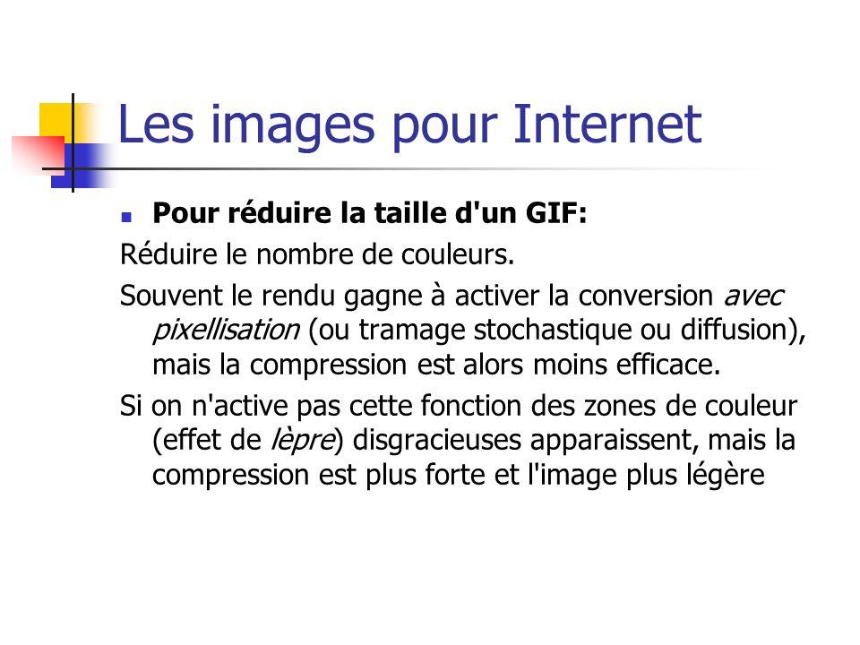 Les images pour Internet Pour réduire la taille d'un GIF: Réduire le nombre de couleurs. Souvent le rendu gagne à activer la conversion avec pixellisa