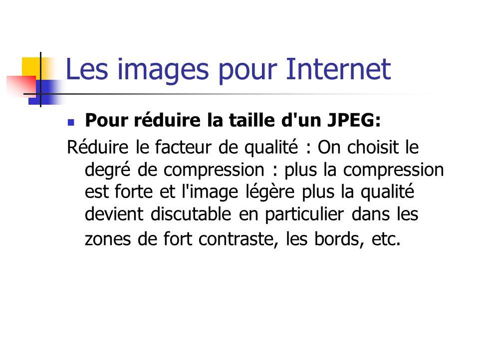 Les images pour Internet Pour réduire la taille d'un JPEG: Réduire le facteur de qualité : On choisit le degré de compression : plus la compression es