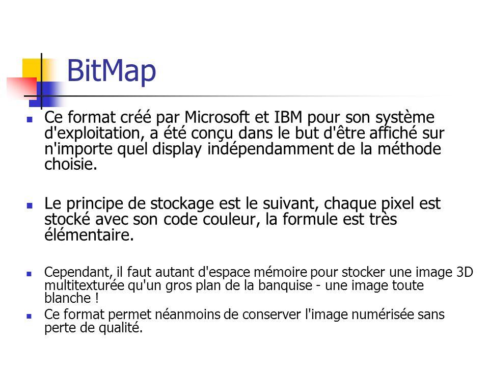 BitMap Ce format créé par Microsoft et IBM pour son système d'exploitation, a été conçu dans le but d'être affiché sur n'importe quel display indépend