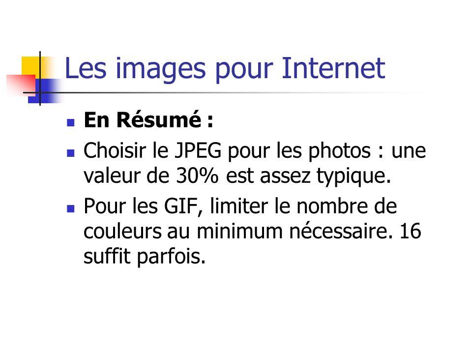 Les images pour Internet En Résumé : Choisir le JPEG pour les photos : une valeur de 30% est assez typique. Pour les GIF, limiter le nombre de couleur