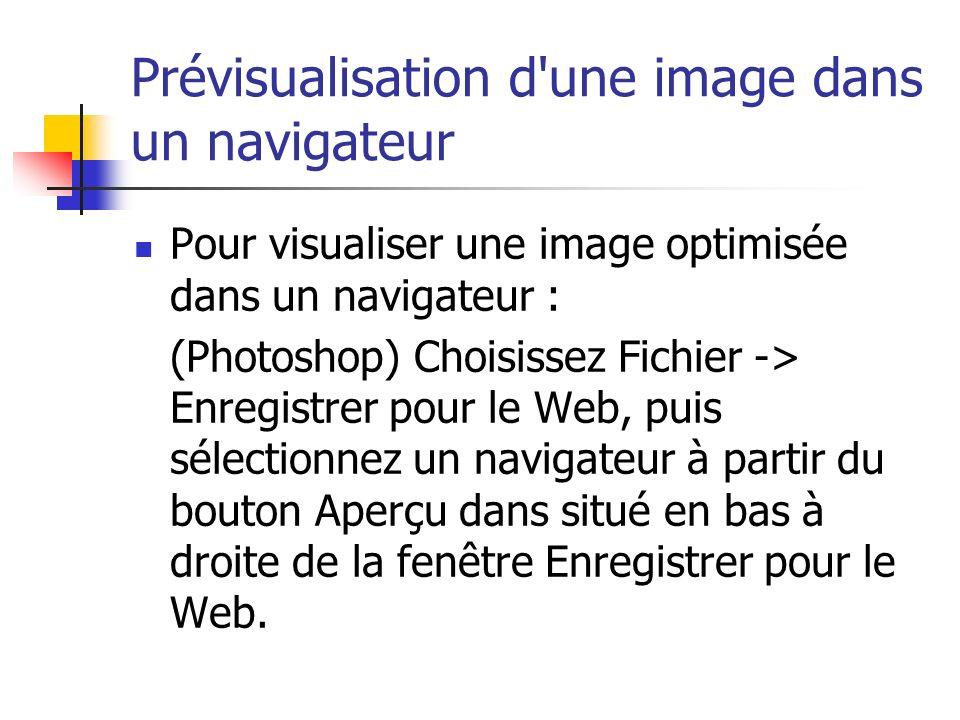 Prévisualisation d'une image dans un navigateur Pour visualiser une image optimisée dans un navigateur : (Photoshop) Choisissez Fichier -> Enregistrer