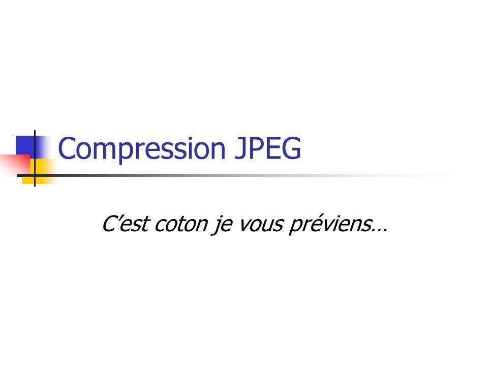 Compression JPEG Cest coton je vous préviens…