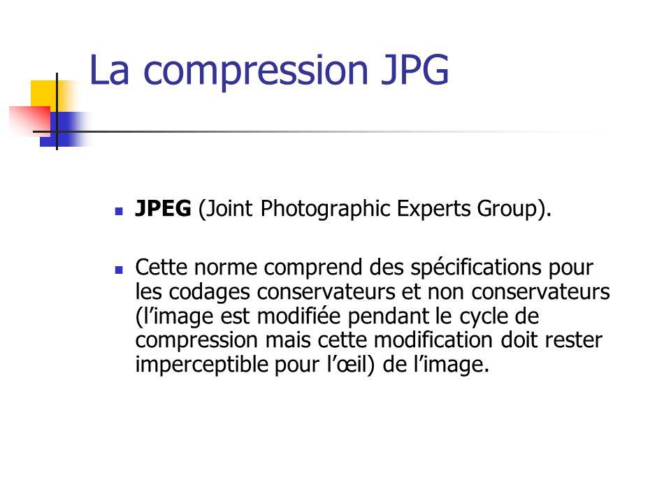 La compression JPG JPEG (Joint Photographic Experts Group). Cette norme comprend des spécifications pour les codages conservateurs et non conservateur
