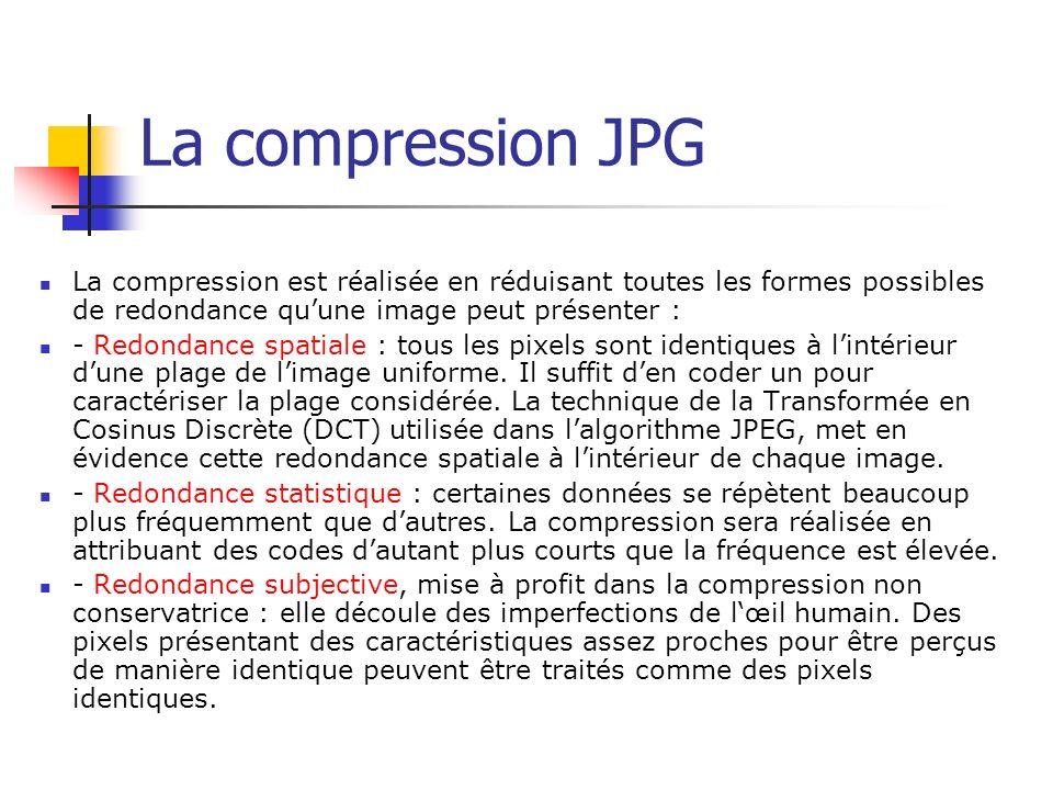 La compression JPG La compression est réalisée en réduisant toutes les formes possibles de redondance quune image peut présenter : - Redondance spatia