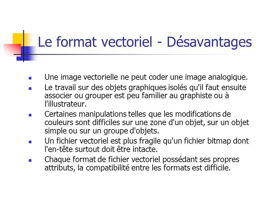 Le format vectoriel - Désavantages Une image vectorielle ne peut coder une image analogique.