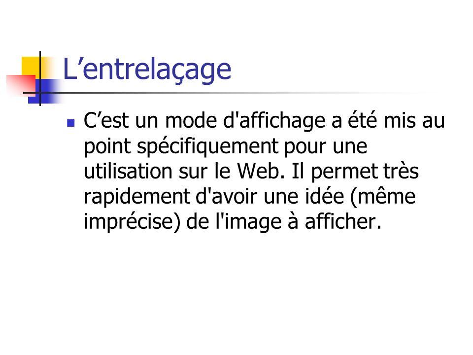 Lentrelaçage Cest un mode d affichage a été mis au point spécifiquement pour une utilisation sur le Web.