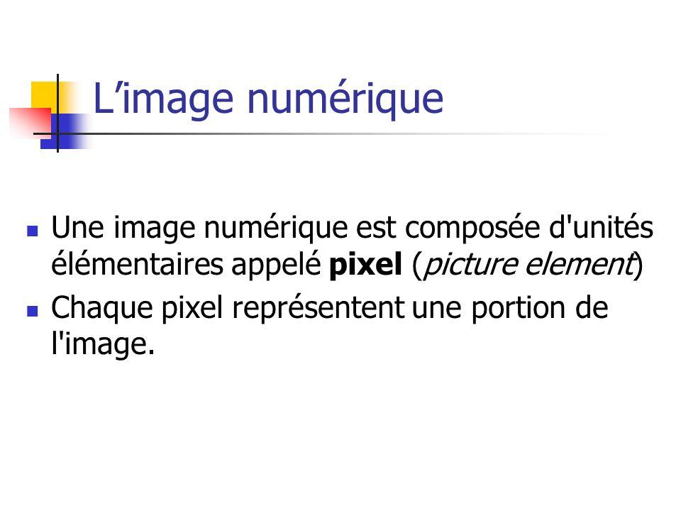 La résolution dune image numérique La résolution d une image est définie par un nombre de pixels par unité de longueur de la structure à numériser (en dpi (dots per inches) ou ppp (points par pouce)).