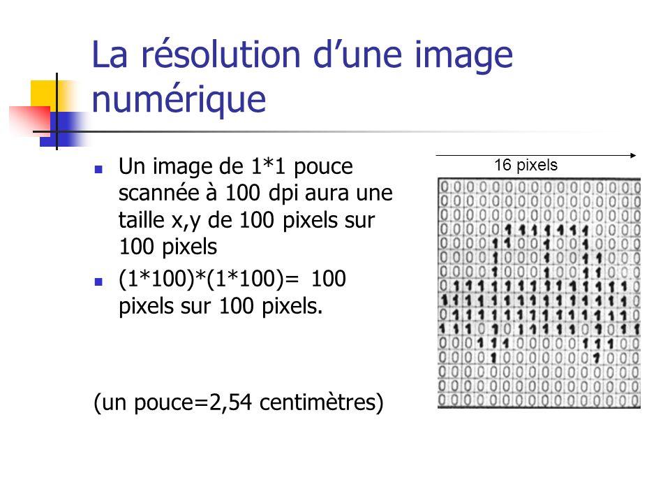 La résolution dune image numérique Un image de 1*1 pouce scannée à 100 dpi aura une taille x,y de 100 pixels sur 100 pixels (1*100)*(1*100)= 100 pixels sur 100 pixels.