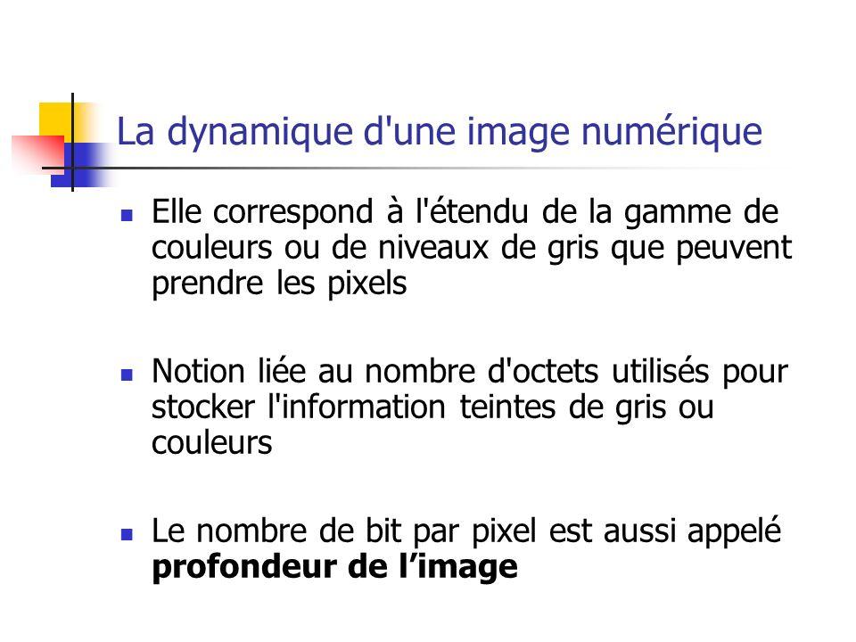 La dynamique d une image numérique Elle correspond à l étendu de la gamme de couleurs ou de niveaux de gris que peuvent prendre les pixels Notion liée au nombre d octets utilisés pour stocker l information teintes de gris ou couleurs Le nombre de bit par pixel est aussi appelé profondeur de limage