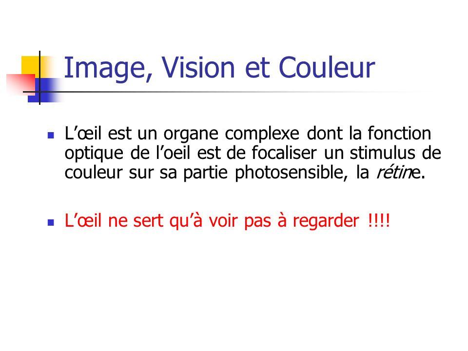 Image, Vision et Couleur Lœil est un organe complexe dont la fonction optique de loeil est de focaliser un stimulus de couleur sur sa partie photosens