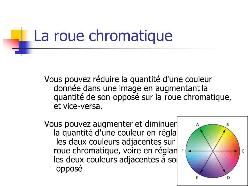 La roue chromatique Vous pouvez réduire la quantité d'une couleur donnée dans une image en augmentant la quantité de son opposé sur la roue chromatiqu