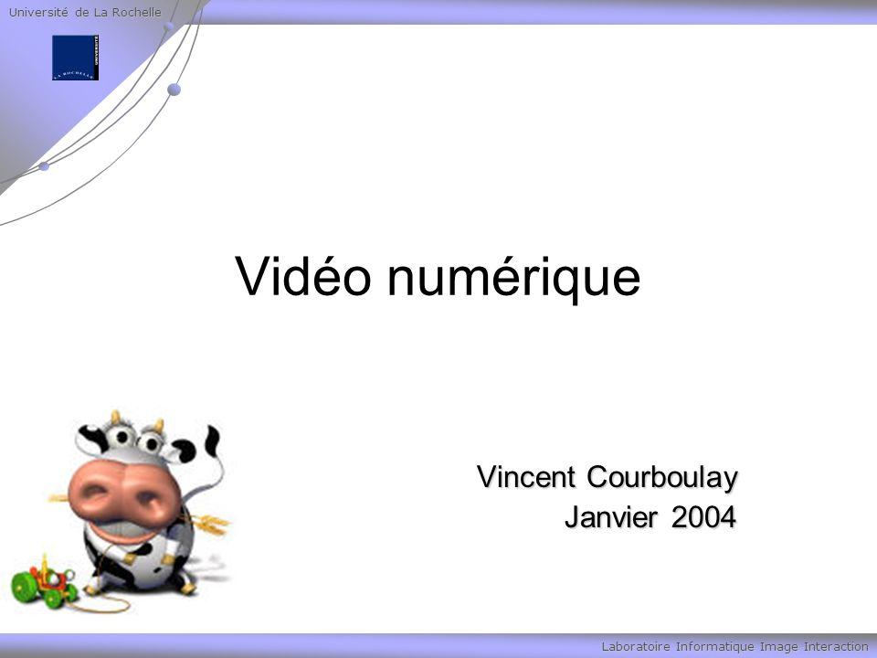 Université de La Rochelle Laboratoire Informatique Image Interaction La vidéo analogique Le format PAL/SECAM (Phase Alternating Line/Séquentiel Couleur avec Mémoire), utilisé en Europe pour la télévision hertzienne, permet de coder les vidéos sur 625 lignes (576 seulement sont affichées car 8% des lignes servent à la synchronisation).
