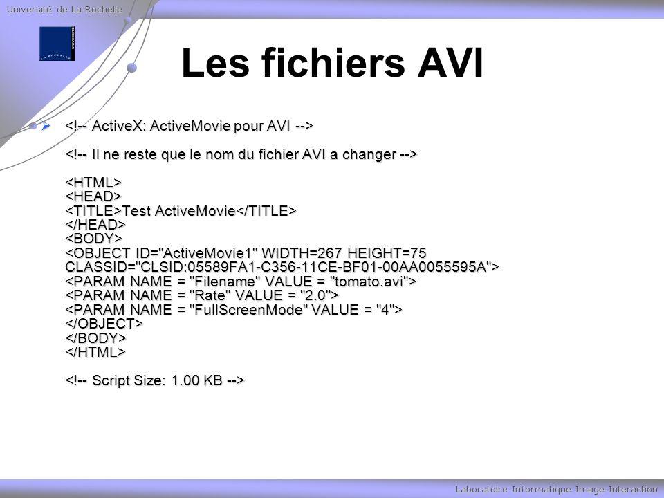 Université de La Rochelle Laboratoire Informatique Image Interaction Les fichiers AVI Test ActiveMovie Test ActiveMovie