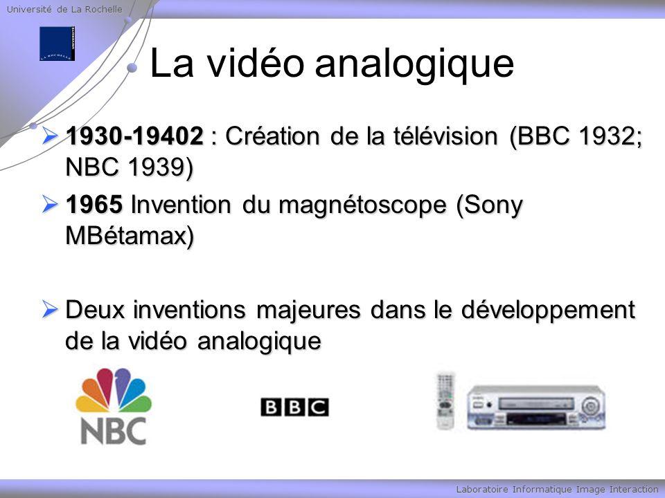 Université de La Rochelle Laboratoire Informatique Image Interaction La vidéo analogique 1930-19402 : Création de la télévision (BBC 1932; NBC 1939) 1930-19402 : Création de la télévision (BBC 1932; NBC 1939) 1965 Invention du magnétoscope (Sony MBétamax) 1965 Invention du magnétoscope (Sony MBétamax) Deux inventions majeures dans le développement de la vidéo analogique Deux inventions majeures dans le développement de la vidéo analogique