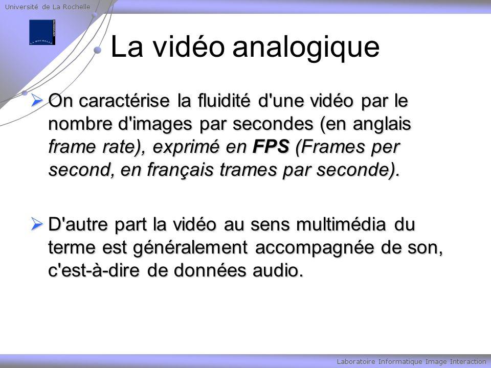 Université de La Rochelle Laboratoire Informatique Image Interaction La vidéo analogique On caractérise la fluidité d une vidéo par le nombre d images par secondes (en anglais frame rate), exprimé en FPS (Frames per second, en français trames par seconde).