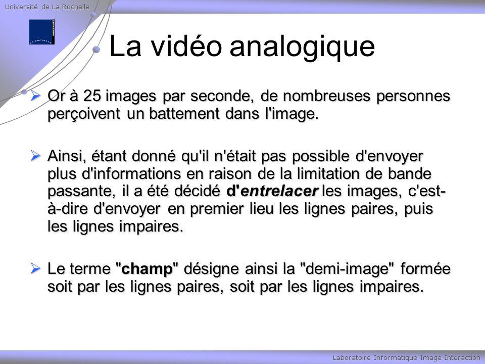 Université de La Rochelle Laboratoire Informatique Image Interaction La vidéo analogique Or à 25 images par seconde, de nombreuses personnes perçoivent un battement dans l image.