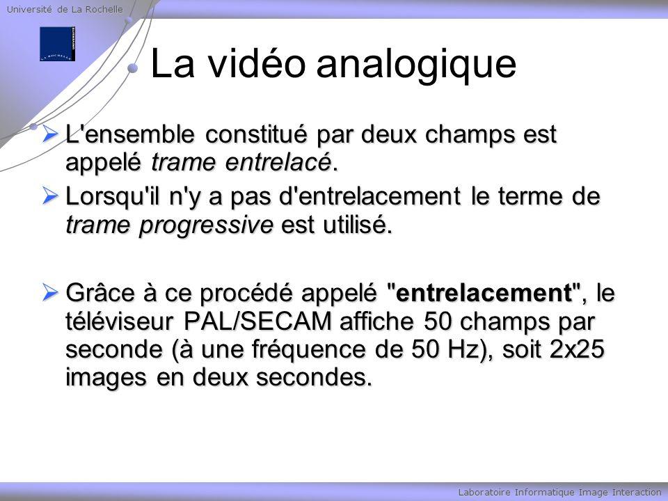 Université de La Rochelle Laboratoire Informatique Image Interaction La vidéo analogique L ensemble constitué par deux champs est appelé trame entrelacé.