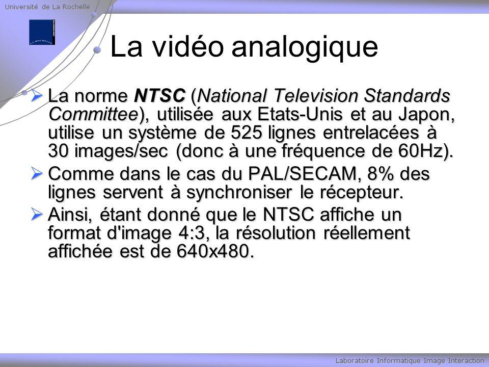 Université de La Rochelle Laboratoire Informatique Image Interaction La vidéo analogique La norme NTSC (National Television Standards Committee), utilisée aux Etats-Unis et au Japon, utilise un système de 525 lignes entrelacées à 30 images/sec (donc à une fréquence de 60Hz).