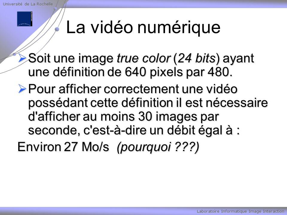 Université de La Rochelle Laboratoire Informatique Image Interaction La vidéo numérique Soit une image true color (24 bits) ayant une définition de 640 pixels par 480.