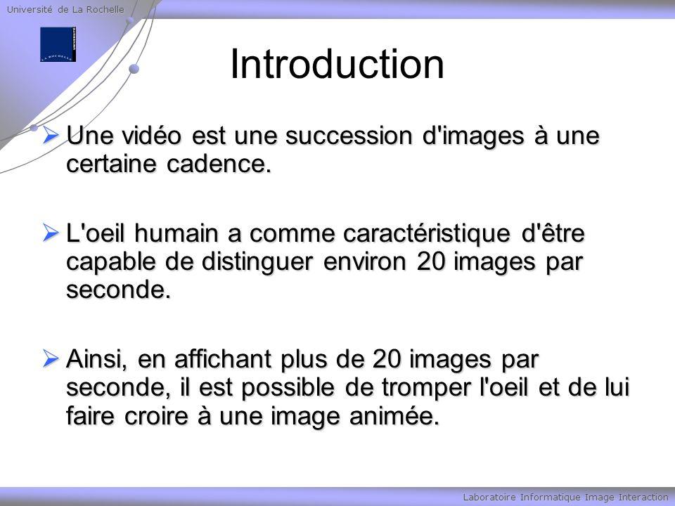Université de La Rochelle Laboratoire Informatique Image Interaction MPEG1 le MPEG-1, développé en 1988, est un standard pour la compression des données vidéos et des canaux audio associés (jusqu à 2 canaux pour une écoute stéréo).