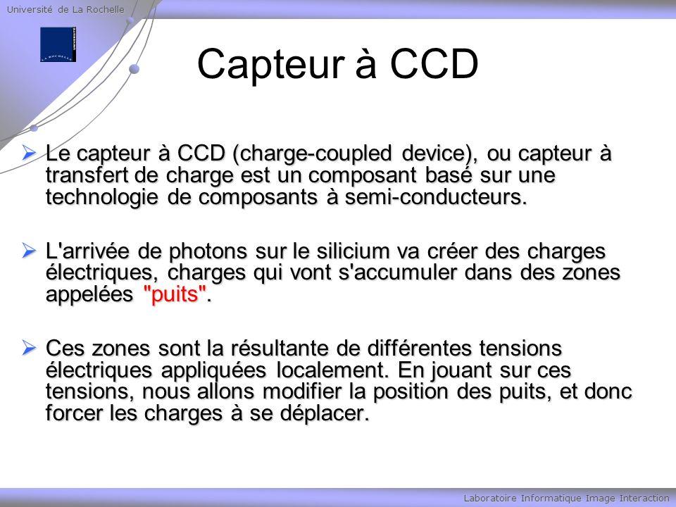 Université de La Rochelle Laboratoire Informatique Image Interaction Capteur à CCD Le capteur à CCD (charge-coupled device), ou capteur à transfert de charge est un composant basé sur une technologie de composants à semi-conducteurs.